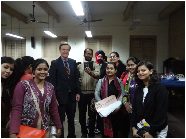 Dr Ray T Donahue with University Of Calcutta Students. Dr Ray presented a topic on Journalists Lack of Effective Listening.
