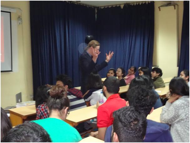 Dr Ray T Donahue at a presentation at St Xavier's College Kolkata on Listening (Jan 2107)