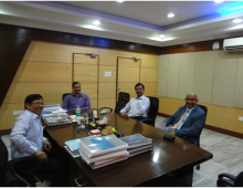 Serious Discussion on Technical Listening. From Left, Director CCRN Dr Nirmal Roy, Dean Technical Amlan Chakaraborti. Pro VC Swagata Sen and Prof C. Jagadish, Honorable Listening Chairman, Global Listening Centre.